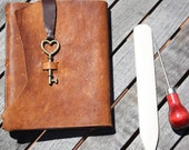 Leather Diary /Notebook / Journal with Gorgeous Paper and Heart Key Closure.