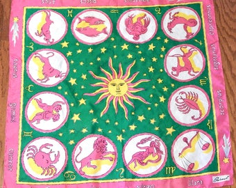 Outta this world! Hippie Dippy Zodiac scarf/ Vintage astrology/Designer/Psychedelic/Silk wrap