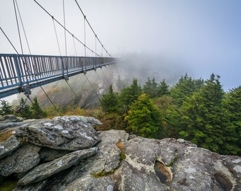 The Mile High Swinging Bridge in fog, at Grandfather Mountain, North Carolina. | Photo Print, Stretched Canvas, or Metal Print.