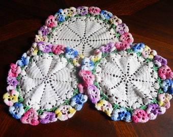 Vintage Set of 3 Crochet Dollies with Pansies on the Edges