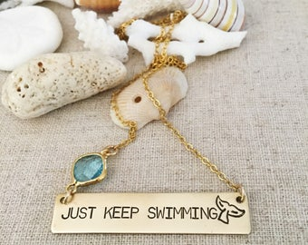 New! Just Keep Swimming Brass Bar Necklace