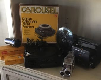 Chinon Projector, Kodak Carousel Projector, Kodak Brownie Movie Camera