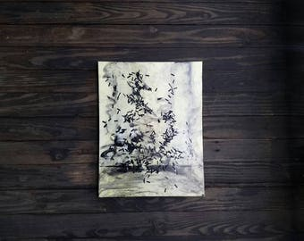 """VHS film/ mixed media painting/ abstract artwork /14""""x18"""" painting/ ready to hang/free shipping"""