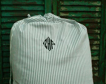 Black and White Ticking Laundry Bag