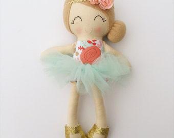 Ballerina doll - fabric doll - heirloom doll - lookalike doll - nursery decor - baby gift - birthday gift