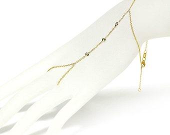 Hand Chain Diamond Bracelet, 14K Yellow Gold Slave Bracelet