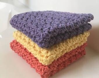 Crochet Cotton Washcloth, Set of 3 Washcloths, Crochet Dishcloth
