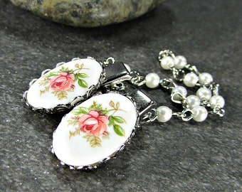 Rose Cameo Sweater Clips, Pink Yellow or Blue, Gold or Silver Plated - Sweater Guard Clasp / Cardigan Clip Chain / Shawl Collar Clips