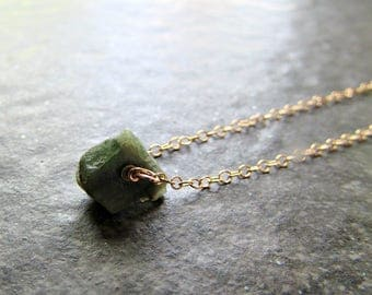Raw Emerald Necklace in Sterling Silver, 14K Gold Filled or Rose Gold Filled- May Birthstone Gemstone Jewelry - Girlfriend Gift for Wife