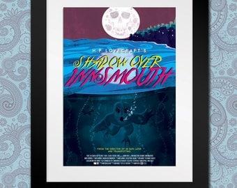 La sombra sobre Innsmouth, HP Lovecraft, cartel de la película, película de culto, Digital Print, Ilustración