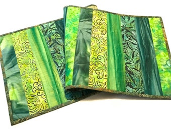 Green Quilted Batik Table Runner