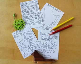 Creation Old Testament Bible Printable Prayer Cards / Colouring Sheet
