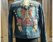 S/M Embellished Jacket *Mandala Elephant* Boho