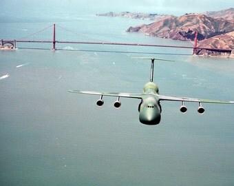 US Air Force Lockheed C-5A Galaxy, Flying over Golden Gate Bridge, San Francisco, Ca  Usaf