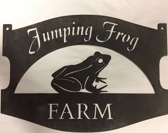 Metal sign with Frog and your name