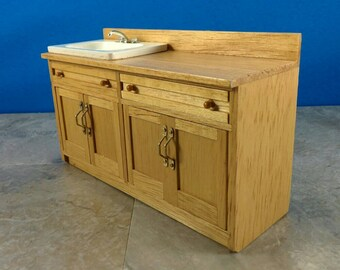 Miniature Dollhouse Kitchen or Bathroom Vanity Sink Made of Wood