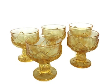 Franciscan glass sherbet dishes vintage cabaret cornsilk yellow glasses