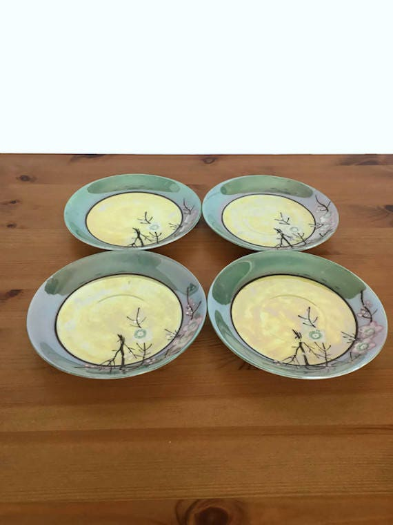 Hand painted Takito porcelain plates set of 4 lusterware saucers