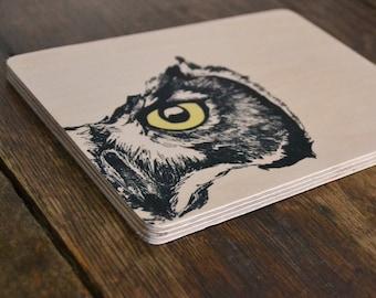 Owl Eye Illustration art on wood 7.8x5.9 inch - wall decoration