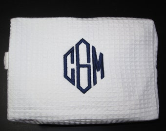 Personalized Cosmetic Bag - Monogrammed, Cosmetic Bags, Monogram,  Personalized Gifts, Makeup Bag, White, Waffle Weave, Valentines Day