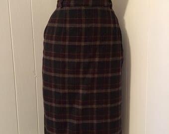 Vintage 1950s Plaid Pencil Skirt