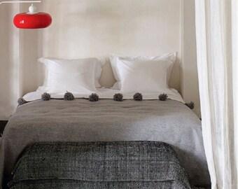 Moroccan Natural Grey Wool Pom pom Blanket