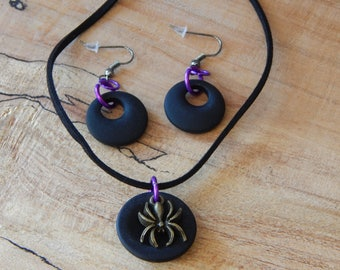 Black and Purple Halloween Glass Jewelry Set, Spider Necklace, Black Glass Necklace, Black Glass Earrings, Halloween Accessories, Women