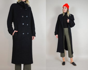Black Fisherman's Sweater Coat