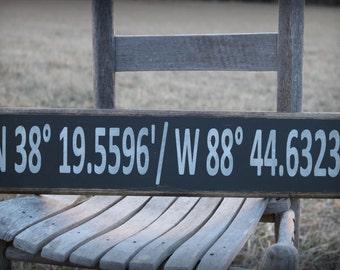 Custom Coordinates Sign, Latitude Longitude Sign, Housewarming Gift