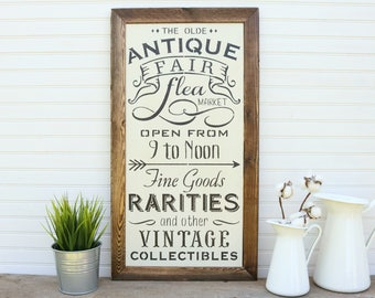 The Olde Antique Fair, Primitive Antiques, Framed Wall Art, 12x24