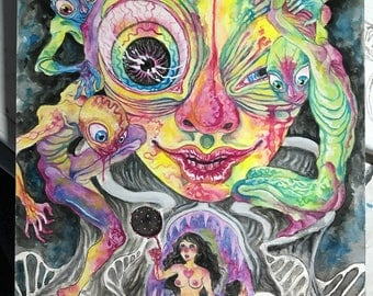 Illusions Original 10x14 Gouache Painting