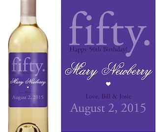 50th Birthday Wine Label - Personalized Wine Label - Custom Wine Label - Milestone Birthday