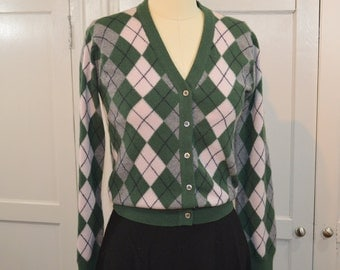 Argyle Cashmere Cardigan Made Pringle of Scotland