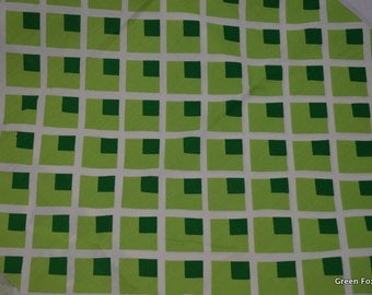Geometric Green Lattice Vintage Fabric