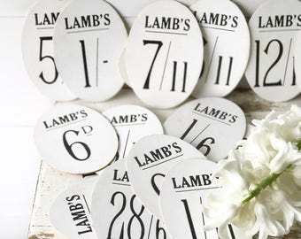 """Oval """"Lambs"""" vintage shop price tag"""