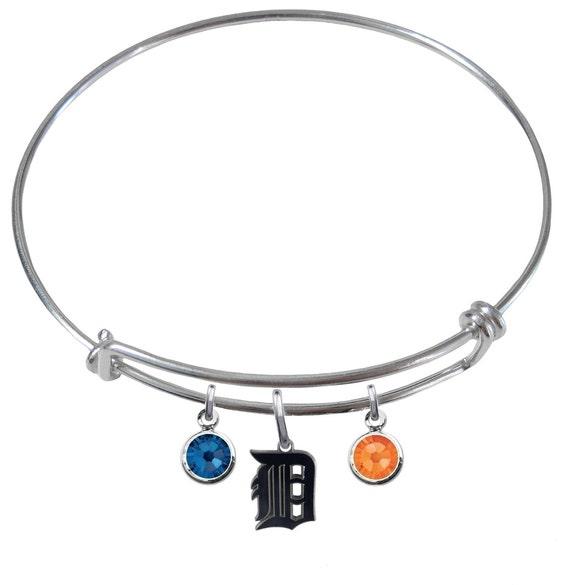 detroit tigers wire charm expandable bangle bracelet w blue