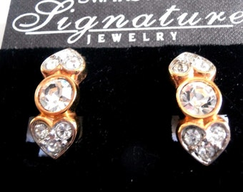 Signed Swarovski Clip Earrings Gold Plated Kisses & Hugs Set Clear Crystals  New (D)