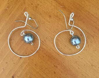 Grey Pearl Earrings, Handmade jewelry, Womens Earrings, Gray Pearls, SIlver hoops, Wedding gift, Birthday gift