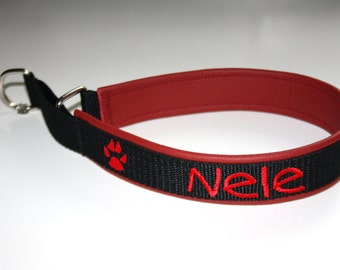 "Train stop collar with name + TelNr ""black red"" dog collar dog leather"