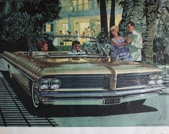 1962 ad Pontiac Bonneville Convertible Car Art Vintage Print Ad ETK312