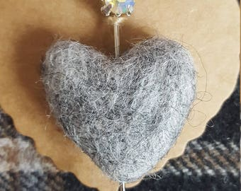 Felted heart with decorative pin