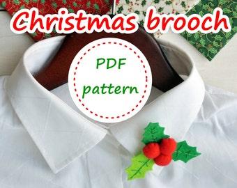 Felt Holly Leaves, Holly Leaves Pattern, Felt Brooch Pattern, Felt Christmas Pattern, Felt Pattern, Felt Brooch, PDF Felt Pattern