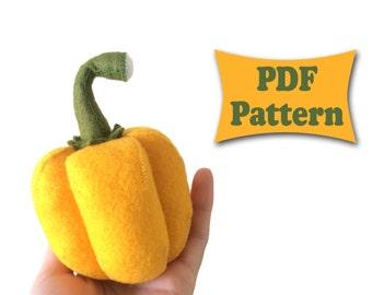 Felt Paprika, Paprika Pattern, Felt Pattern, Sweet Pepper Pattern, Felt Vegetables Patterns, Felt Food Pattern, Soft Felt Toy Pattern