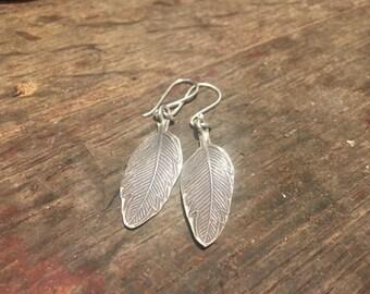 925 Silver Feather Earrings