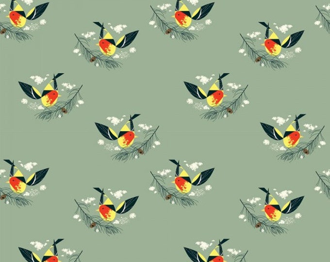Western Tanager- Organic Cotton Fabric - Charley Harper Western Birds for Birch Fabrics
