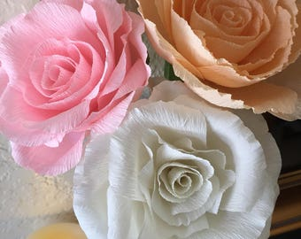 Large Crepe Paper Garden Rose! Flowers for Party Event Wedding Home Office Decor; Bouquets; Gift Anniversary Artificial Boutonniere
