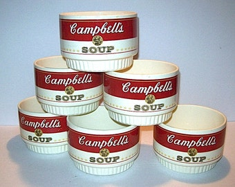Rare Set of McCOY Pottery 1969 Stackable CAMPBELLS SOUP Bowls from Promo Premiums Offer
