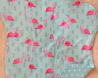 Pink flamingo burp cloths , Aqua polka dot burpcloths,