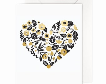 Floral Frenzy Card | Gold Foil Heart, everyday blank card