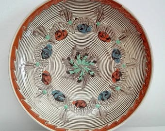 Romanian traditional HOREZU ceramic plate, made in Horezu, handmade handpainted ceramics, folk art pottery, decorative plate, glazed